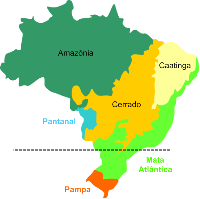 Map showing the Caatinga biome