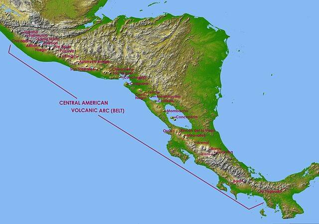 Map of the Central America Volcanic Arc