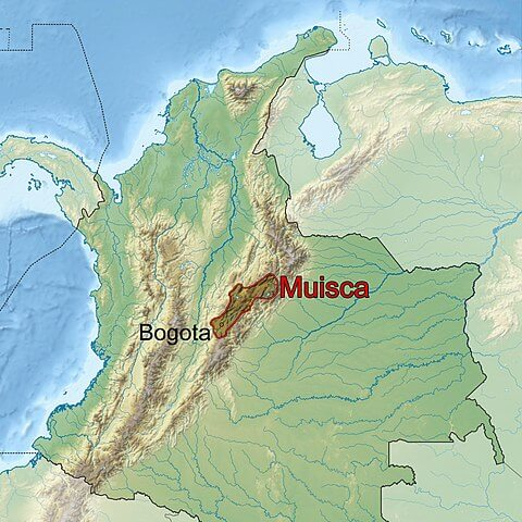 Location of Altiplano Cundiboyacense and Muisca culture in Colombia