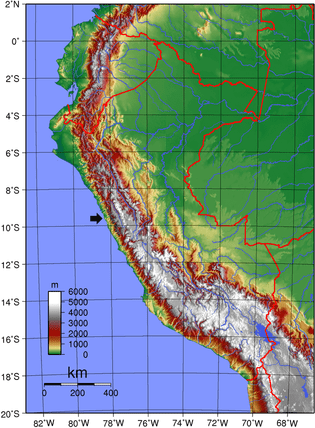 Terrain map: Arrow indicates location of the Cordillera Negra