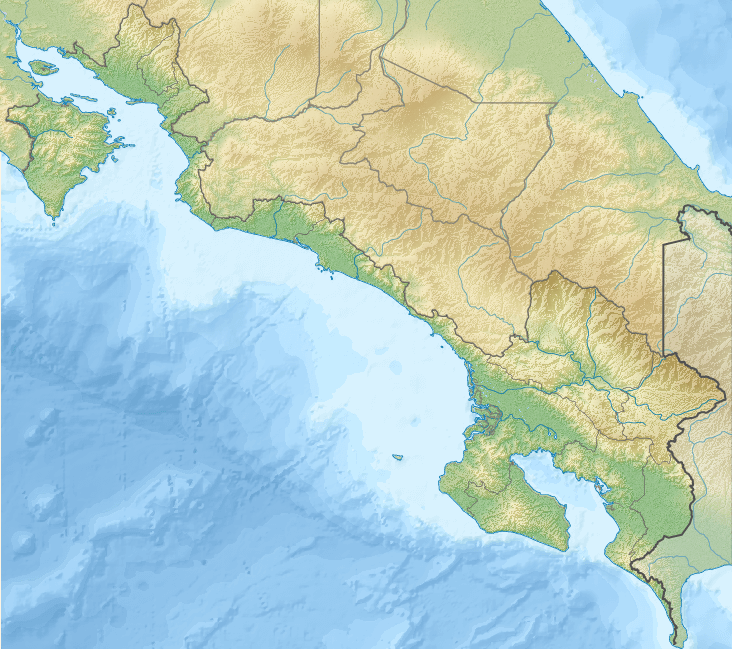 Relief map of Puntarenas province, Costa Rica: Coronado Bay (center), Golfo Dulce and Osa Peninsula (lower right)