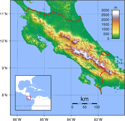 Topographic map of Costa Rica with Talamanca range