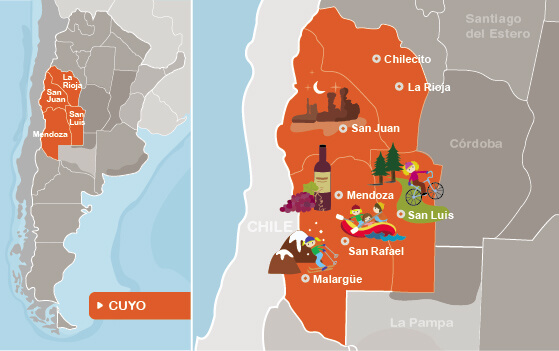 Map of New Cuyo Region, Argentina