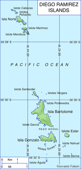 Map of Diego Ramirez Islands