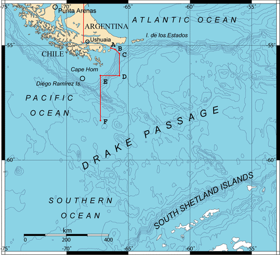 Map showing locations of the Drake Passage, Cape Horn and the Diego Ramirez Islands