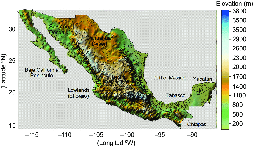 Elevation map of Mexico including its main topography features