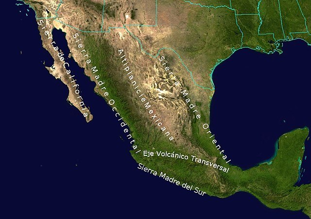 Topographic map of Mexico: Sierra Madre System
