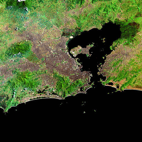 NASA satellite image showing Guanabara Bay, Brazil