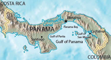 Gulf of Panama relief map