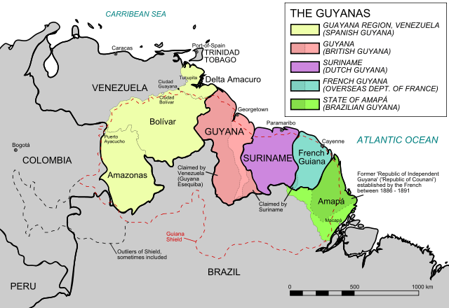 Political map of The Guianas, including the Venezuelan (former Spanish Guayana) and the Brazilian (former Portuguese Guiana) Guianas.