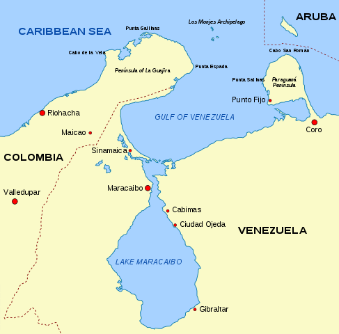 Map showing the Guajira Peninsula, Gulf of Venezuela and Lake Maracaibo