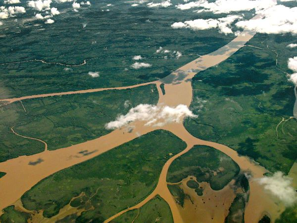 Aerial view of Lower Paraná Delta