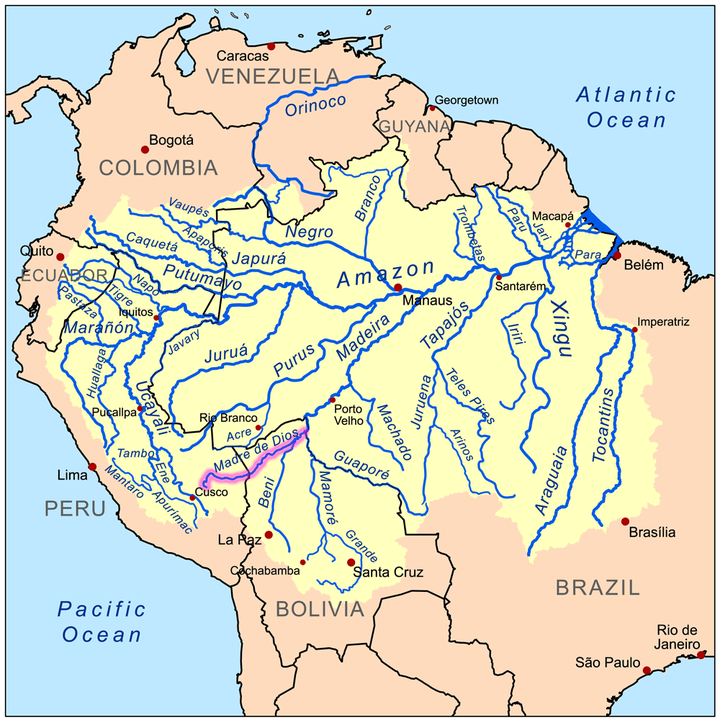 Map of the Amazon River drainage basin with the Madre de Dios River highlighted