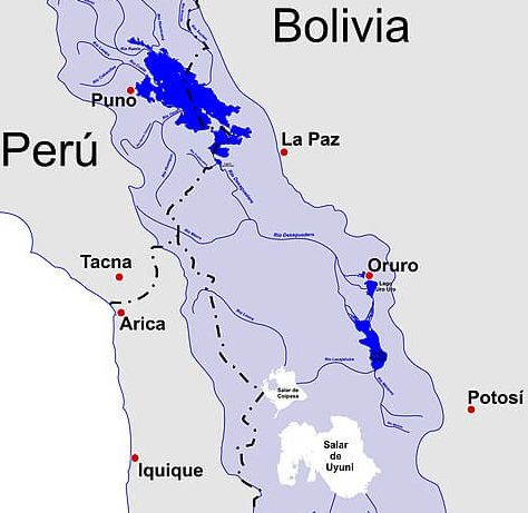 Map showing Lake Titicaca, Rio Desaguadero, Lake Poopó and the Salar de Uyuni basin