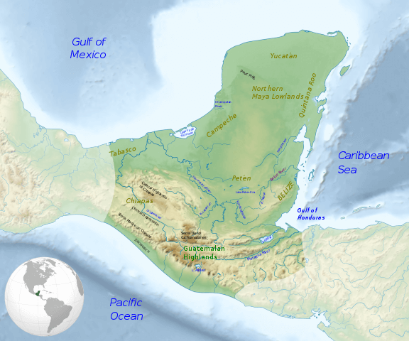 Map of the Maya region, with major rivers, mountain ranges and regions