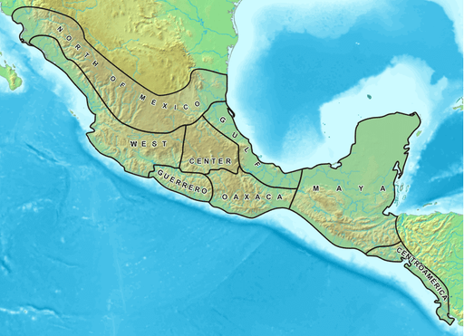 Map of Mesoamerica and its cultural areas