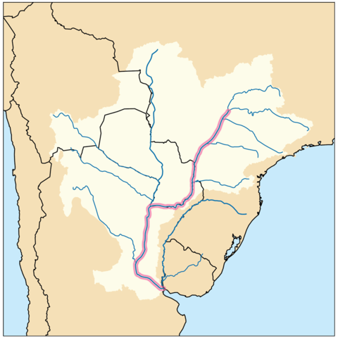 Map showing location of Paraná River
