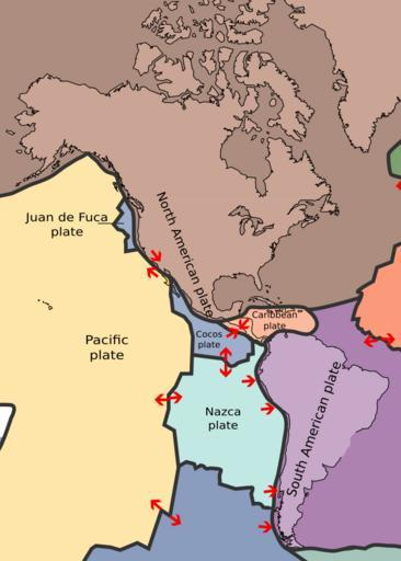 Map of tectonic plates of the Americas