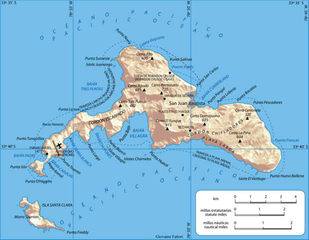 Map of Robinson Crusoe Island, Archipelago Juan Fernández, Chile. Shaded relief.