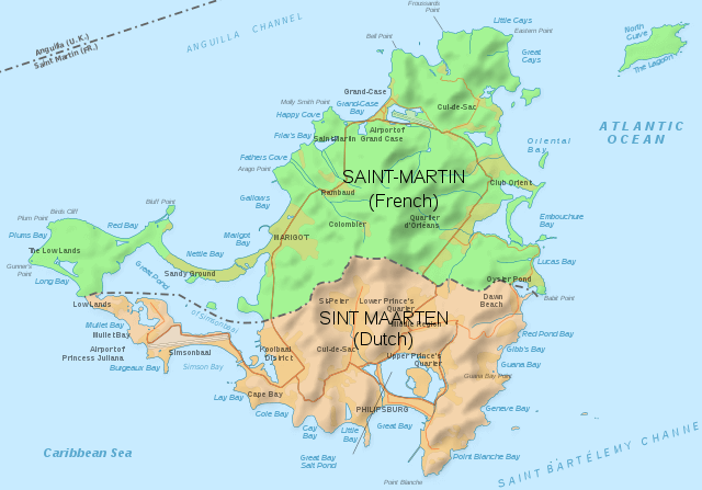 Map of the island of Saint Martin