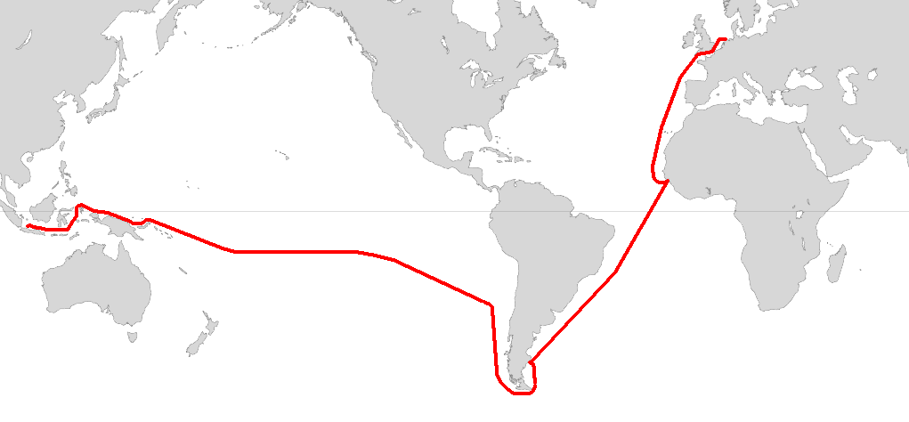 Route of the voyage of Willem Schouten and Jacob le Maire in 1615–16