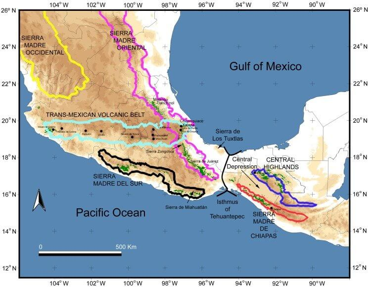 Topographic map of Mexico / Central America