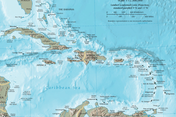 Map of the Caribbean by the CIA World Factbook