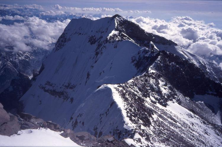 South summit of Aconcagua with south face, Argentina