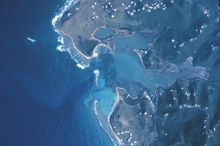 Aerial view of Salt River Bay. Croix. St. Croix, United States Virgin Islands