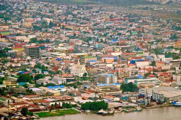 Aerial view of downtown Georgetown, Guyana