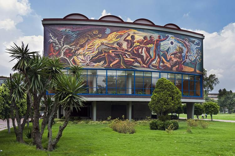 Rear facade of the Alfonso Caro auditorium building on the Ciudad University campus, Mexico City