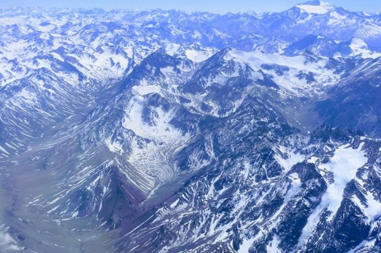 Aerial view of the Andes Mountains over Chile