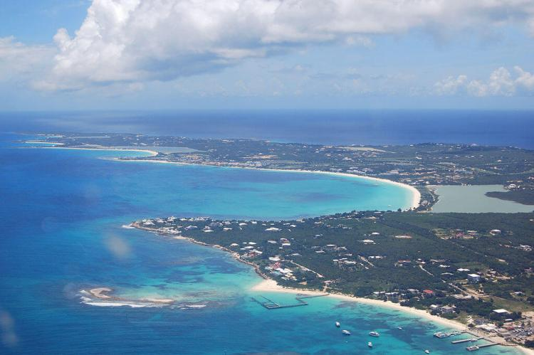 Aerial view of the western portion of the island of Anguilla