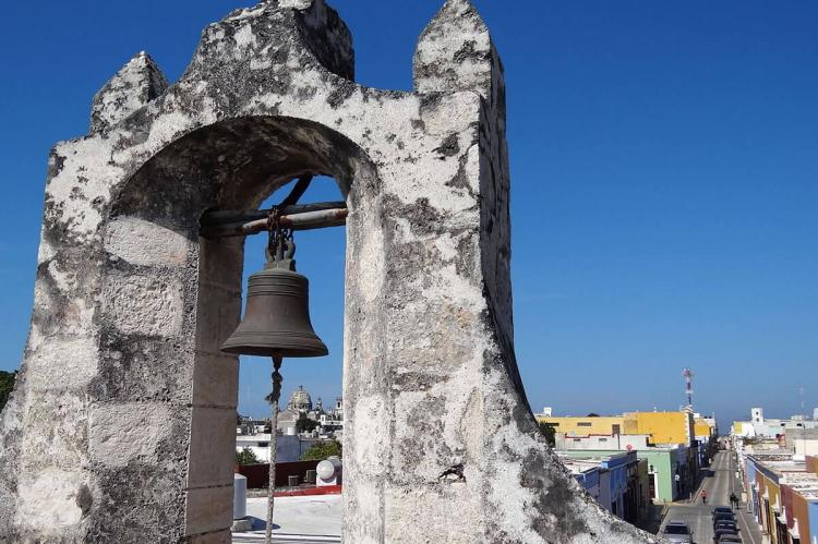 Belltower on Baluarte in Old City, San Francisco de Campeche (Mexico)