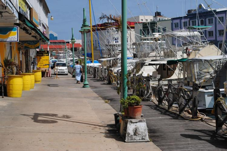 Bridgetown, Barbados shops and marina