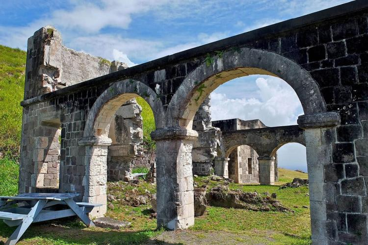 Ruins at the Brimstone Hill Fortress on Saint Kitts