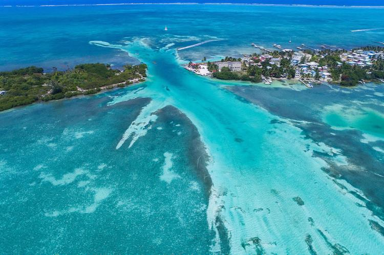 Aerial view of Caye Caulker, Belize