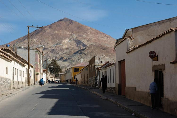 View of the Cerro Rico from Potosí street, Bolivia
