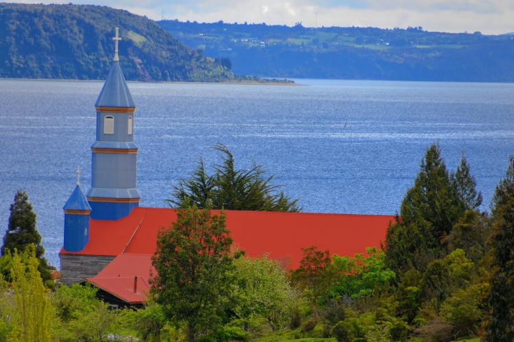 View of church steeple and landscape, Island of Chiloe, Chile