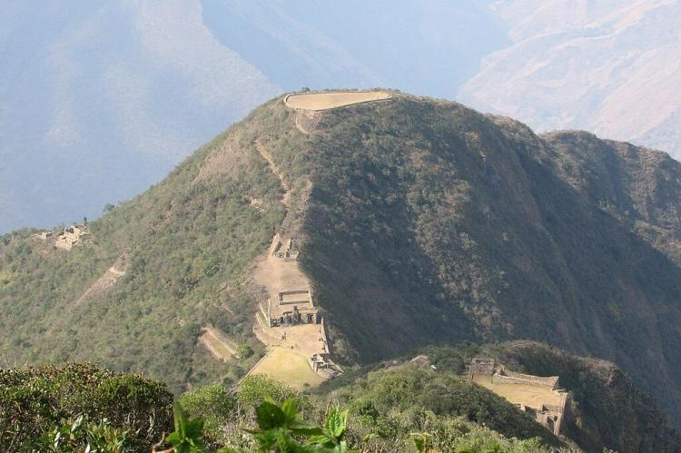 Truncated hilltop at the inca ruins of Choquequirao, Peru