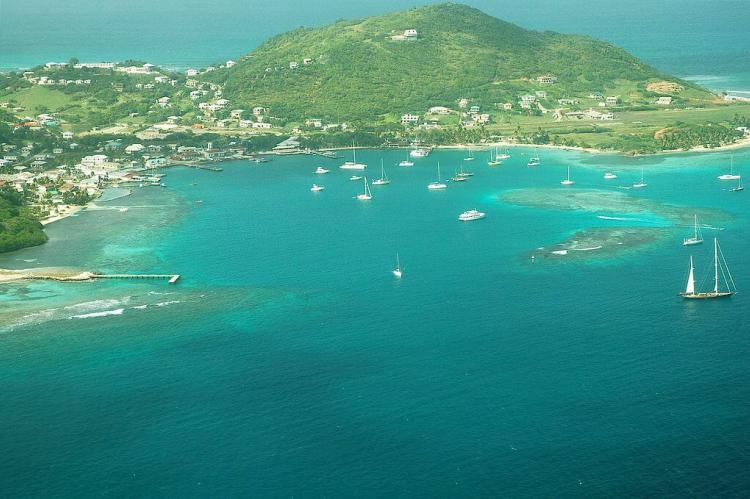 Aerial view of Clifton Harbour, Union Island, Saint Vincent and the Grenadines