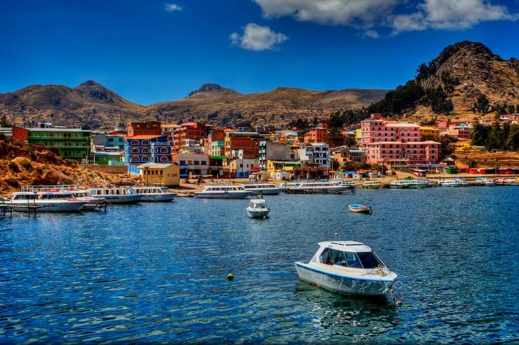 Town of Copacabana on the shore of Lake Titicaca, Bolivia