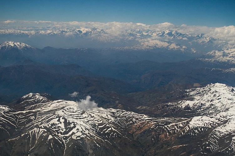 Aerial view of the Andes Mountains, South America