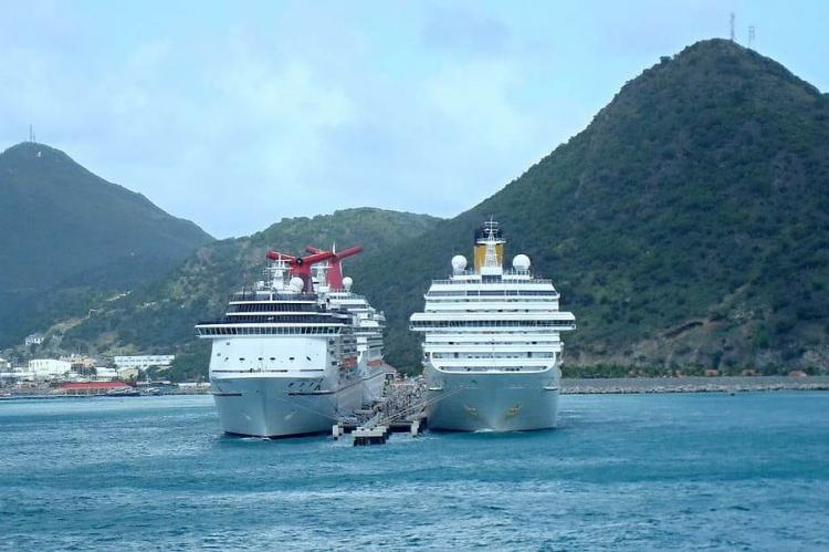 Cruise ships docked off St. Maarten