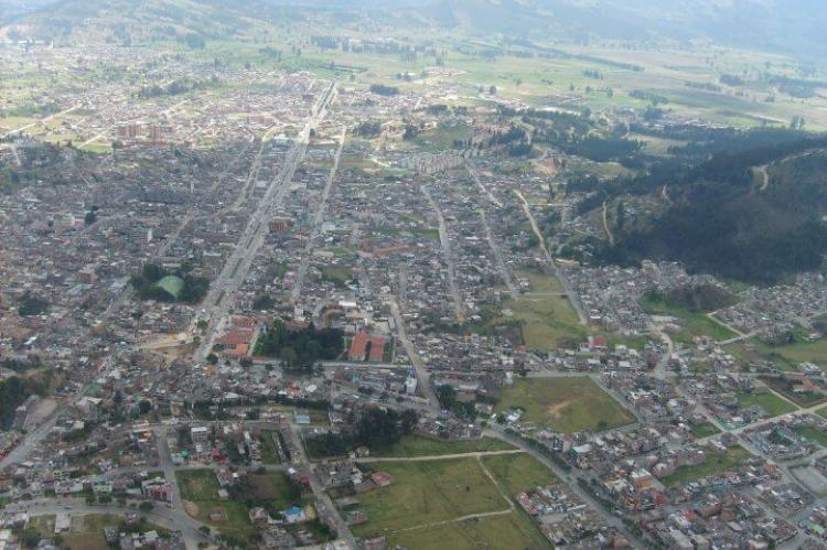 The city of Duitama, Colombia, built on the former lake, the surrounding hills were populated by the Muisca