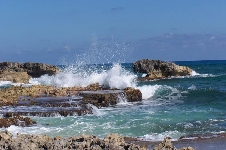 Crashing waves on the eastern shore of Isla Cozumel, Quintana Roo, Mexico