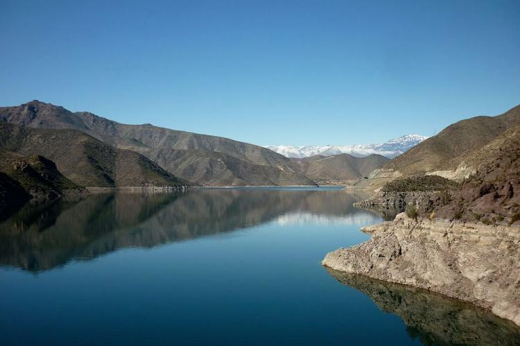 Panoramic view of the Puclaro reservoir in Elqui Valley, Chile