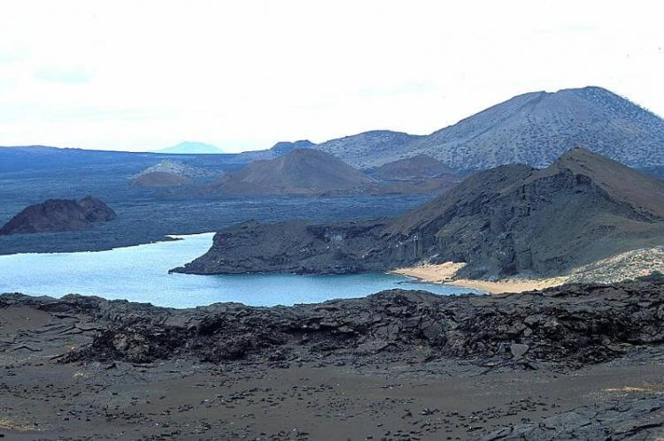 View of Galapagos volcano, lava, on Bartolome and Santiago Islands, Ecuador