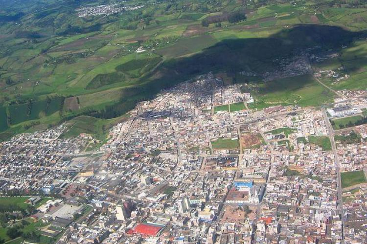 Aerial view of the city of Ipiales, Colombia