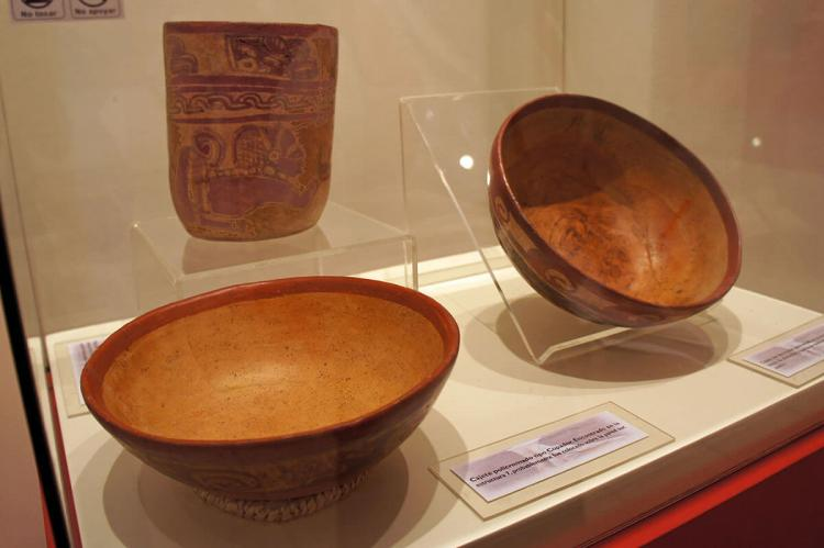 Mayan artifacts found at the Joya de Cerén archaeological site and in display at the Joya de Cerén Museum, El Salvador